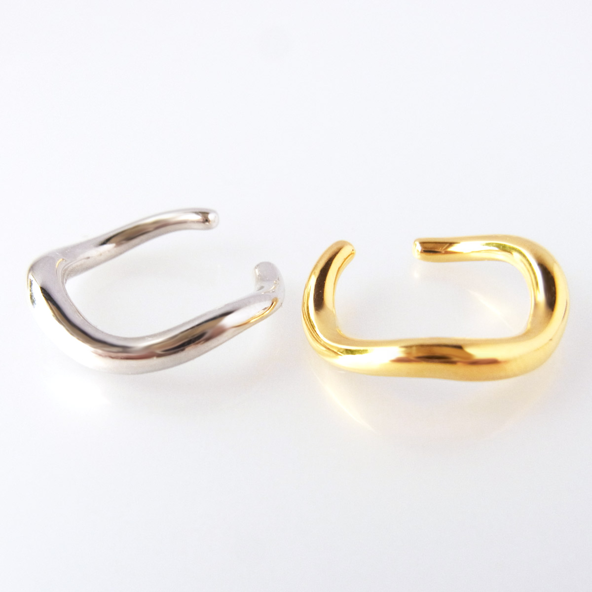 イヤーカフ シルバー製 ゴールド鍍金 ロジウム鍍金 S字